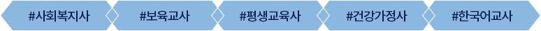 사회복지사, 뵤육교사, 평생교육사, 건강가정사, 한국어교사